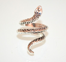 ANELLO ARGENTO grigio donna SERPENTE regolabile metallo tibetano etnico fedina anel bague silver ring S76