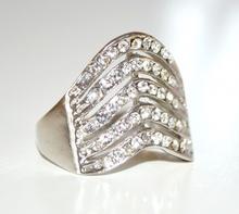 ANELLO donna fedina ARGENTO elegante con strass\brillantini\cristalli ring anillo 32