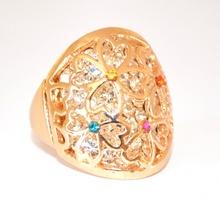 ANELLO donna ORO BRILLANTINI strass fedina CRISTALLI dorato ring anillo inel 170