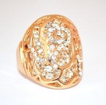 ANELLO donna ORO BRILLANTINI strass fedina dorato CRISTALLI BIANCHI ring inel anneau 160