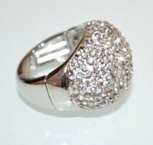 ANELLO elastico donna argento strass a molla taglia unica pavè brillantini fascia A9