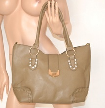BORSA pelle donna shopper BEIGE TAUPE ecopelle CRISTALLI a mano a spalla bolsa bag 890