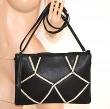 BORSELLO NERO BORSA donna pelle CRISTALLI elegante pochette clutch bag sac 970