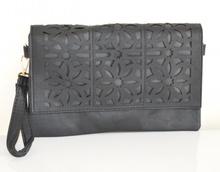 BORSELLO NERO donna borsa pelle a mano a spalla tracolla borsetta sac Z21