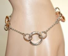 BRACCIALE ARGENTO donna charms ciondoli oro rosa dorato anelli filo catenina strass N60