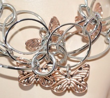 BRACCIALE ARGENTO donna CIONDOLI FARFALLE ORO ROSA anelli cerchi bracelet E30