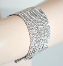 BRACCIALE argento donna maglia multifilo fili diamantati braccialetto catena elegante bracelet B32