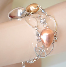 BRACCIALE ARGENTO donna pietre oro rosa dorate anelli strass elegante bijoux N8