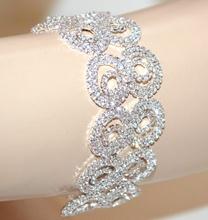 BRACCIALE ARGENTO donna strass cristalli brillanti sposa elegante cerimonia G44