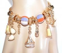 BRACCIALE donna ciondoli oro dorato anelli lucidi smaltati charms barca occhiali mare strass bracelet A64