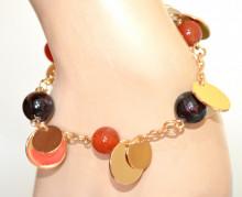 BRACCIALE donna ORO dorato ciondoli charms pietre colorate rosse nere gold bracelet GP10