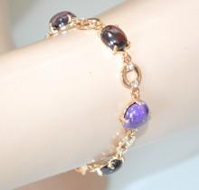 BRACCIALE donna oro dorato cristalli tondi lilla glicine rosso amarena anelli strass bracelet BB8