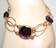 BRACCIALE donna oro dorato cristalli viola anelli ovali elegante bracelet pulseira GP26