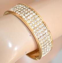 BRACCIALE donna ORO dorato RIGIDO ELEGANTE CERIMONIA strass brillantini bracelet браслет 390B