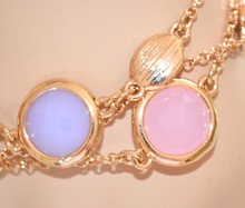 BRACCIALE donna ORO pietre rosa glicine verdi dorato elegante woman bracelet 665