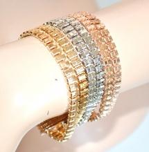 BRACCIALE donna oro rosa argento dorato polsiera catena multimaglia F250