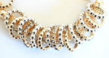 BRACCIALE donna oro rosa argento semi-rigido con anelli strass cristalli elegante cerimonia B72