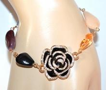 BRACCIALE ORO donna pietre cristalli fiore nero dorato strass ambra rosa F220