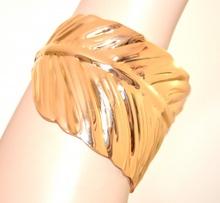 BRACCIALE ORO donna RIGIDO foglia a schiava elegante dorato armband bracelet E87