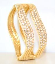 BRACCIALE ORO donna STRASS elegante RIGIDO a schiava cristalli acciaio lucido elegante sexy 45N