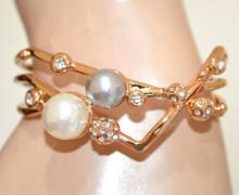 BRACCIALE PERLE donna grigio bianche oro dorato semi rigido strass cristalli elegante N92