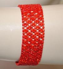 BRACCIALE rosso strass donna cristalli brillantini elegante cerimonia party A19