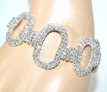 BRACCIALE STRASS donna argento cerchi ovali cristalli sposa cerimonia F200