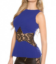 CANOTTA BLU NERA donna top pizzo ricamato maglietta giromanica t-shirt elegante AZ25