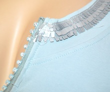 CANOTTA maglietta AZZURRA top donna elegante sottogiacca giromanica cotone strass A34