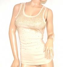 CANOTTA top BEIGE donna maglietta strass chiodini oro sottogiacca cotone A16