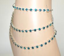 CAVIGLIERA donna argento multifili strass blu azzurri celesti turchesi cristalli N98