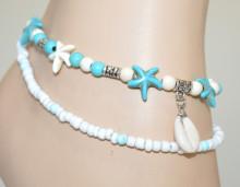 CAVIGLIERA donna stelle mare ciondoli argento azzurro turchese bianco perline anklet N9
