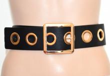 CINTURA donna NERA ORO stringivita eco pelle cinturone cerchi anelli dorati back belt G58