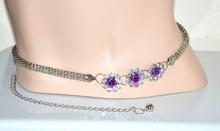 Cintura gioiello donna argento metallo fiori strass cristalli regolabile stringivita elegante sexy da cerimonia 60