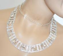 CINTURA gioiello donna ARGENTO strass cristalli metallo sposa elegante crystal belt S63