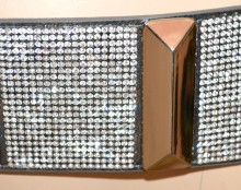 CINTURA GRIGIO donna strass stringivita elastica metallo argento bustino G36