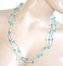 COLLANA ARGENTO AZZURRO donna lunga girocollo cristalli collier elegante A70