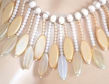 COLLANA AVORIO BEIGE donna pietre cristalli perline girocollo collier elegante F55