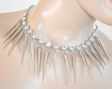 COLLANA donna ARGENTO CRISTALLI sexy girocollo elegante collarino strass collier da cerimonia 20X