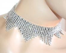 COLLANA donna argento strass cristalli girocollo collarino elegante collier A82