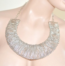 Collana donna girocollo argento fili rigida sexy collarino colletto elegante cerimonia collar 115