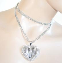 COLLANA donna LUNGA argento girocollo ciondolo cuore strass idea regalo san valentino E20