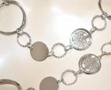 COLLANA LUNGA donna argento girocollo catena metallo anelli ciondoli elegante BB20