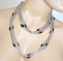 COLLANA LUNGA donna ARGENTO multi fili catenina girocollo anelli PIETRE NERE elegante collier necklace 270