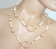 COLLANA LUNGA Perle Bianche donna Oro Ciondoli Torchon Perline girocollo N54