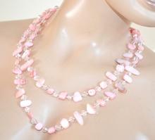 COLLANA LUNGA ROSA CIPRIA donna PIETRE DURE girocollo cristalli collier E120