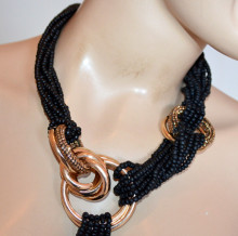 COLLANA NERA donna anelli oro dorati ambra girocollo fili perline strass necklace S28