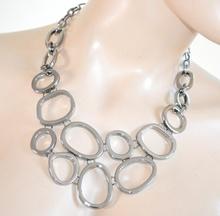 COLLANA nera elegante sexy girocollo donna multi-cerchi collier necklace collar H30