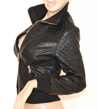 GIUBBINO NERO giacca donna pelle giacchino giubbotto polsi elastici giaccone H10