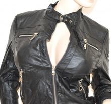 designer fashion 19b62 bb602 GIUBBINO NERO giacca pelle donna giacchino giubbotto avvitato zip argento  sexy fibbia H20